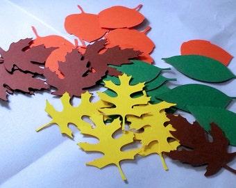 50 Autumn leaves die cut in Autumn colors