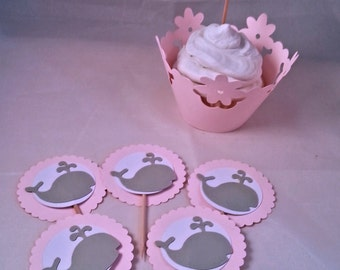 Set of 18 baby whale cupcake topper, white grey and pink, baby girl, baby shower, favor, decoration for party
