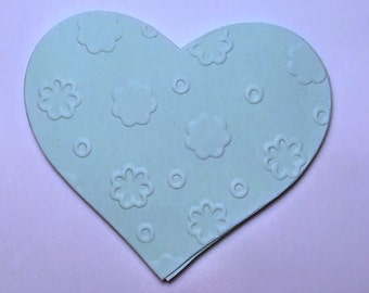 25 handmade die cuts - EMBOSSED HEARTS - choose the color you like!