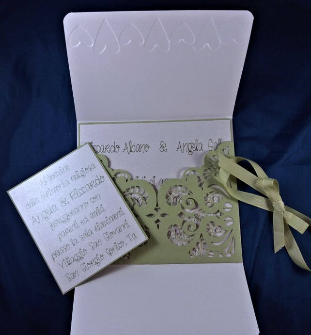 Set Of 10 Wedding Invitation Pearl White And Apple Green Gorgeous Handmade For Your Special Day
