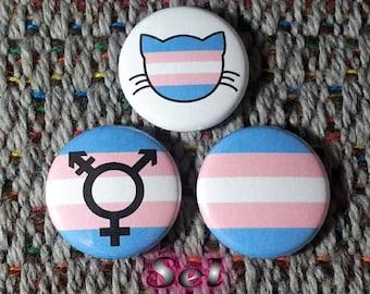 Transgender Flag Buttons - Set of 3