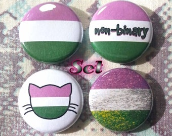 Genderqueer Flag Buttons - Set of 4