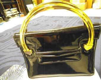 Vintage SAKS FIFTH Avenue Purse Handbag Patent Leather Art Deco  RARE 3d Handle