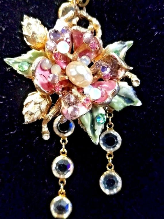 CORO Enamel Necklace Flower Pearl Vintage Necklace