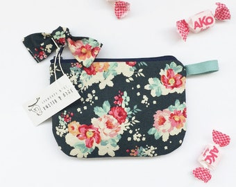 Floral Zipper pouch, Large Coin purse, Bow purse, Gadget bag, Credit card holder