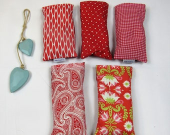 Lavender eye pillow, removable, washable cover - reds, ideal for yoga and meditation, great hen gift, made in the UK - free UK postage