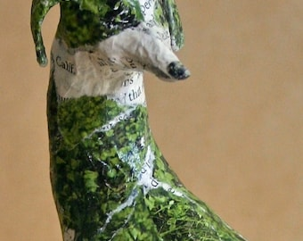 Hound, Unique Whimsical Paper Mache Dog Sculpture - Custom Pieces Available Upon Request