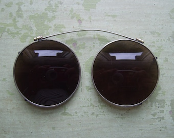 c535b72eb13cb Vintage Clip-On Sunglasses Sunglasses - Round Lens - Brown Tint - Circa  1940 s.