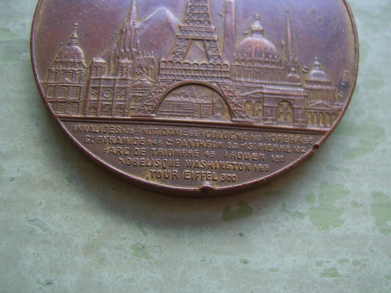 French. Paris ON SALE Rare Antique French Commemorative Medal Eiffel  Tower 1889