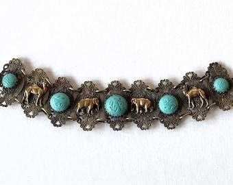 Vintage Elephant & Camel Bracelet - Czech Glass + Antique Brass Filigree - Circa 1930's-1950's.
