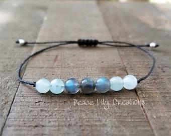 aquamarine labradorite yoga string  healing  minimalist jewelry chakra  yoga jewelry energy