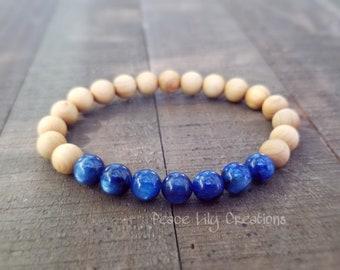 Kyanite sandalwood bracelet - yoga bracelet  - wrist mala  - mala beads  - aromatherapy - healing bracelet - gemstone jewelry  - earthy
