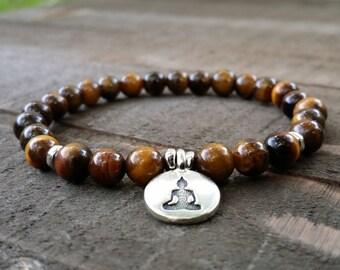 Tiger eye chakra yoga bracelet stretch  bracelet energy bracelet wrist mala buddha bracelet natural gemstones earthy bracelet