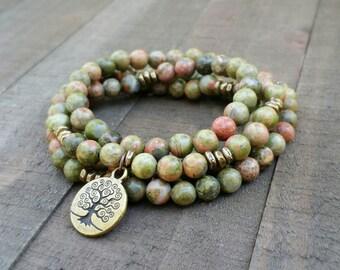 Unakite mala necklace stretch wrap bracelet gemstone wrap bracelet yoga energy bracelet meditation beads tree of life power beads