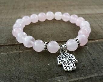 Rose quartz stretch chakra bracelet wrist mala chakra bracelet energy bracelet power beads meditation yoga bracelet heart chakra