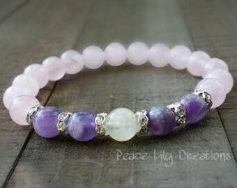 rose quartz moonstone yogo mala amethyst stretch chakra bracelet wrist mala energy bracelet power beads meditation yoga bracelet