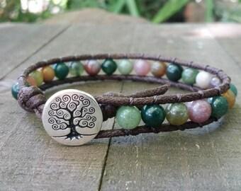 Fancy jasper vegan wrap bracelet single wrap chakra bracelet tree of life dark brown cotton cord boho bracelet earthy yoga bracelet