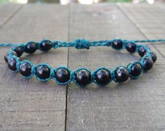 Shungite macrame bracelet healing bracelet yogo bracelet boho bracelet stacking bracelet waterproof bracelet