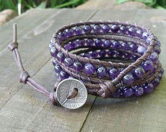 Amethyst vegan wrap bracelet triple wrap bracelet leaf bracelet cotton cord boho bracelet earthy bracelet chakra bracelet