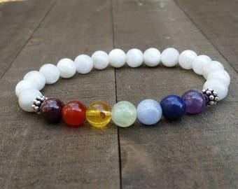 7 chakras yogo bracelet wrist mala bracelet energy bracelet power beads moonstone