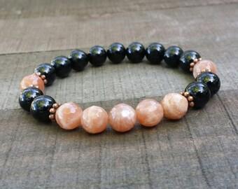 tourmaline yogo mala sunstone stretch chakra  wrist mala chakra  energy  power beads meditation beads yoga