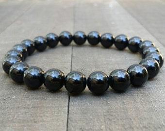 Black tourmaline stretch chakra bracelet wrist mala bracelet energy bracelet power beads bracelet root chakra summer bracelet