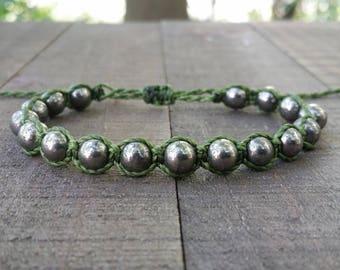 Pyrite macrame bracelet healing bracelet yogo bracelet boho bracelet stacking bracelet waterproof bracelet