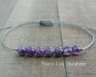 Amethyst string bracelet healing bracelet minimalist jewelry chakra bracelet yoga jewelry energy bracelet