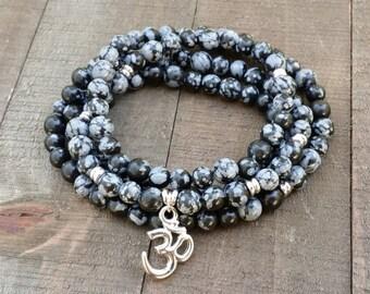 snowflake obsidian mala necklace stretch wrap bracelet gemstone wrap bracelet yoga energy bracelet meditation beads power beads