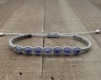 Iolite macrame bracelet - healing jewelry  yogo bracelet  stacking  waterproof  chakra balancing