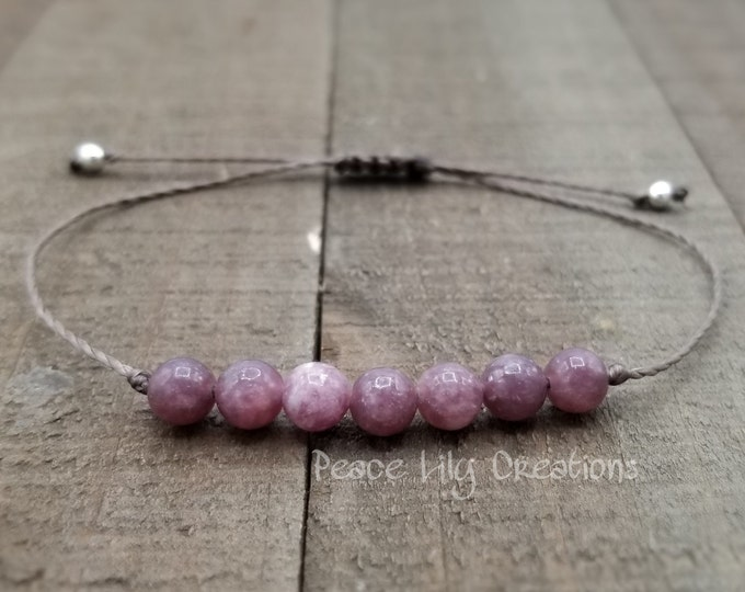 Featured listing image: Lepidolite yoga string bracelet healing bracelet minimalist jewelry chakra bracelet yoga jewelry energy bracelet