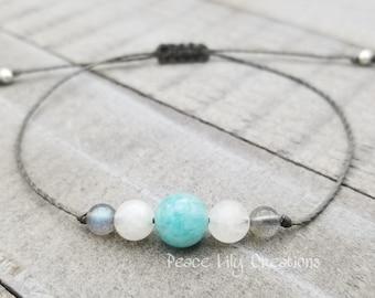Amazonite moonstone labradorite string bracelet healing bracelet minimalist jewelry chakra bracelet yoga jewelry energy bracelet