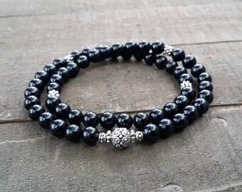 Black tourmaline chakra yoga  stretch   energy  wrist mala lotus  spring natural gemstones chakra 54 mala