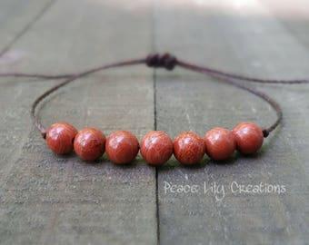 Red jasper string bracelet healing bracelet minimalist jewelry chakra bracelet yoga jewelry energy bracelet