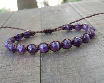 Amethyst macrame bracelet healing bracelet yogo bracelet boho bracelet stacking bracelet waterproof bracelet