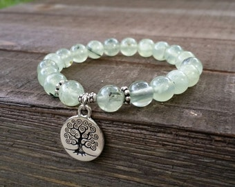yogo mala prehnite stretch chakra  wrist mala chakra  energy  power beads meditation yoga  tree of life