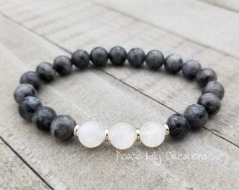 Larvikite moonstone mala stretch chakra bracelet wrist mala chakra  energy beads meditation beads yoga intention jewelry