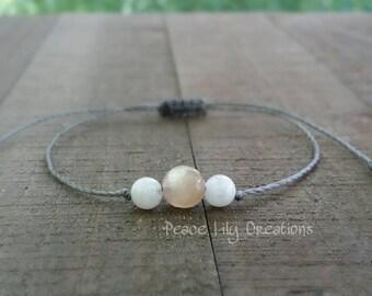 Sunstone and moonstone string bracelet healing bracelet minimalist jewelry chakra bracelet yoga jewelry energy bracelet