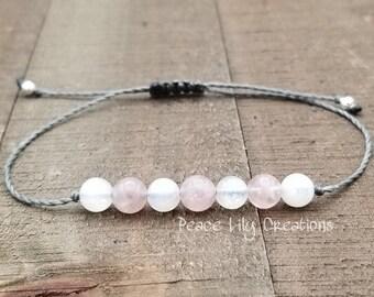 Rose quartz moonstone string bracelet healing bracelet minimalist jewelry chakra bracelet yoga jewelry energy bracelet