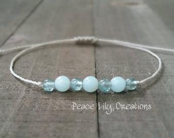 Apatite and amazonite yoga string bracelet healing bracelet minimalist jewelry chakra bracelet yoga jewelry energy bracelet