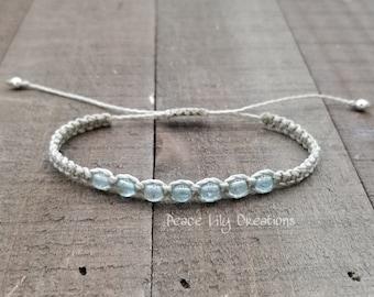 Apatite macrame bracelet - healing jewelry  yogo bracelet  stacking  waterproof  chakra balancing