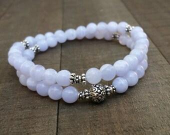 Blue lace agate yoga bracelet stretch  bracelet energy bracelet wrist mala bracelet 54 bead mala half mala