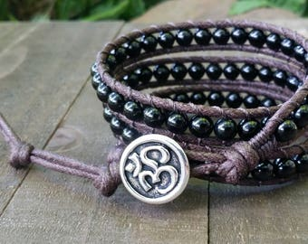Black tourmaline vegan wrap bracelet triple wrap bracelet om bracelet cotton cord boho bracelet earthy bracelet root chakra bracelet