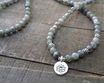 labradorite 108 mala necklace stretch wrap bracelet gemstone wrap lotus bracelet yoga energy bracelet meditation beads