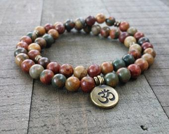 red creek jasper half mala stretch wrap  gemstone wrap  yoga energy  meditation beads power beads wrist mala 54