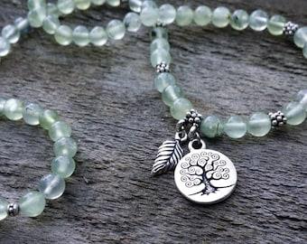 prehnite 108 mala necklace stretch wrap bracelet gemstone 4x wrap bracelet tree of life leaf charm yoga ener