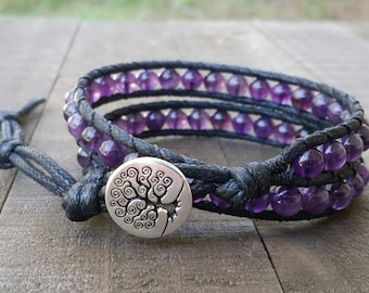 Amethyst vegan wrap bracelet double wrap bracelet tree of life cotton cord boho bracelet earthy bracelet chakra bracelet
