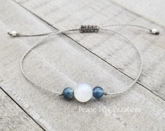 moonstone and kyanite string bracelet healing bracelet minimalist jewelry chakra bracelet yoga jewelry energy bracelet