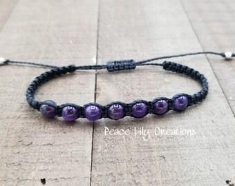 Amethyst macrame bracelet - healing jewelry  yogo bracelet  stacking  waterproof  chakra balancing