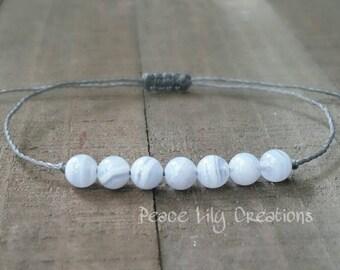 Blue lace agate yoga string bracelet healing bracelet minimalist jewelry chakra bracelet yoga jewelry energy bra